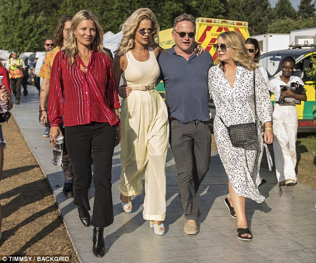 Firm friends: Kate Moss, 44, looked fresh-faced as she supported stunning pal Rita Ora, 27, backstage at House Festival at Kenwood House ahead of her performance