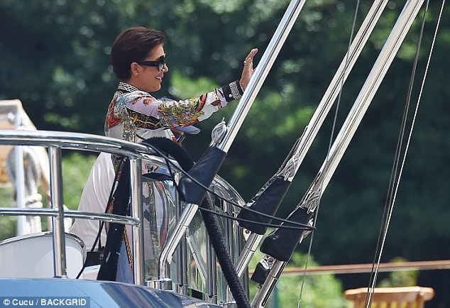 Welcome!Kris Jenner, who looked lovely in a colorful printed dress, was spotted arriving by boat to Portofino to meet Kourtney as well her grandchildren on Saturday