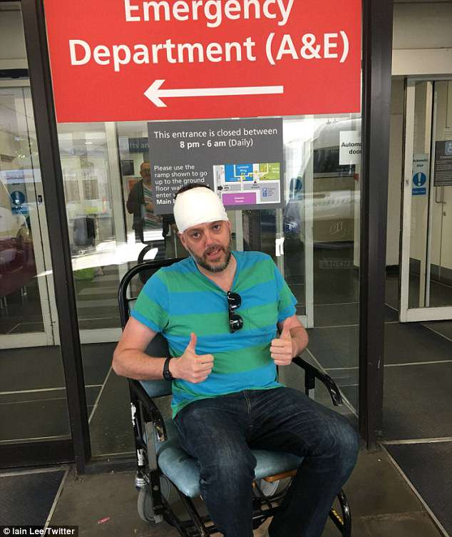 Thumb's up: Iain Lee will return to the airwaves on Tuesday evening after receiving medical attention for injuries sustained during an owl attack