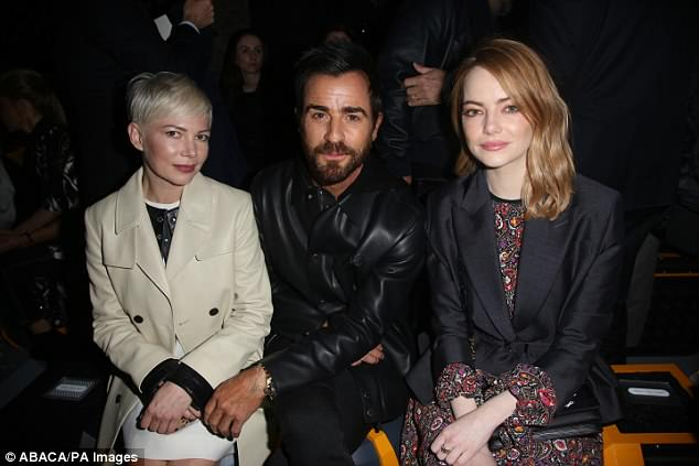 Dating: Rumors have been swirling about a Justin Theroux romance. Here the duo is seen with actress Michelle Williams at the Louis Vuitton fashion show in Paris last winter