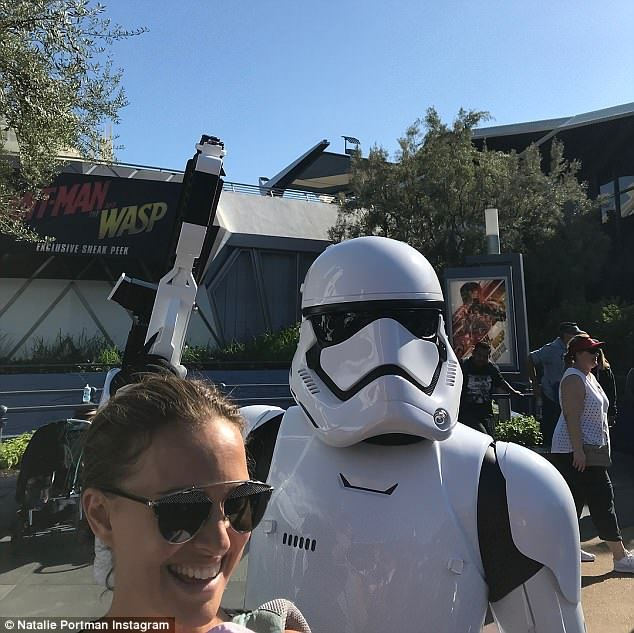 'Thank you, @Disneyland, for making me smile all day when I needed it most. #disneyland' Natalie captioned this snap of her with a Stormtrooper at Disney last week