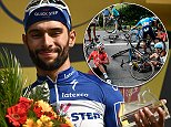 Fernando Gaviria of Colombia celebrates after winning stage four of the Tour de France