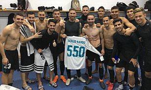 Sergio Ramos celebrates reaching 550 Real Madrid matches