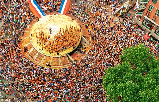 An aerial view taken using an Octocopter, a remote controlled helicopter, shows the ceremony honouring the Dutch Olympic team in Den Bosch, the Netherlands on August 13 2012