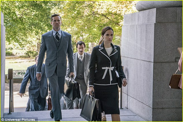 There she is: Actress Felicity, 34, takes on the role of Ruth, a young lawyer who struggled for equal rights to become a U.S. Supreme Court Justice