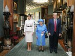 Queen Elizabeth II stands with US President Donald Trump and his wife, Melania, in the Grand Corridor during their visit to Windsor Castle in Berkshire