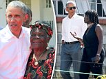 Ob-mama:Barack Obama took his first trip to Kenya since leaving office so that he could attend the opening of the Sauti Kuu youth center in the village of Kogelo (Barack above with step-grandmother Sarah Obama)