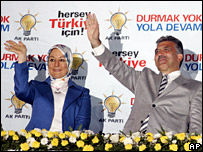Abdullah Gul and his wife celebrate the AKP's victory