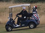Fore(ty thousand): President Trump enjoyed an expensive round of golf this weekend (above on Sunday)