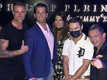 Club kids:Kimberly Guilfoyle, 49, and Donald Trump Jr, 40, partied in St Tropez and Monte Carlo last Friday (L to r: Philipp Plein, Don Jr, Guilfoiyle, Aolex Monopoly and Antonio)