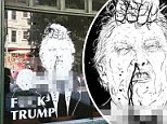 An art gallery in Portland, Oregon removed a window drawing that depicts President Donald Trump being beheaded ISIS style