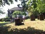 A man posted this picture online after finding a group of people enjoying a barbecue in a graveyard in Leeds