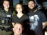 The Volusa County Sheriff's Office deputies involved in the arrest stood next to Matthew White, 32, and Amber Taynor, 24, last Thursday after the pair were captured in Florida