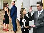 Liberal agenda:Kimberly Guilfoyle lashed out at her first husband Gavin Newsom in an interview with Breitbart Radio, saying her gone too 'far left' (pair above at Newsom's inauguration in January 2004)