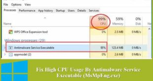 High CPU Usage By Antimalware Service Executable