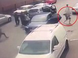 The young mother flees (circled) from the Audi as the carjackers grapple with her husband