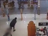 CCTV captured of the shocking incident shows the father hurling his daughter into the security pole