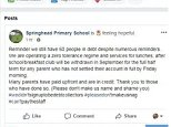 Springhead Primary School threatened to name and shame parents who have not paid for their child's school meals