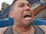 This man cannot stop screaming as he rides a rollercoaster in San Diego, California