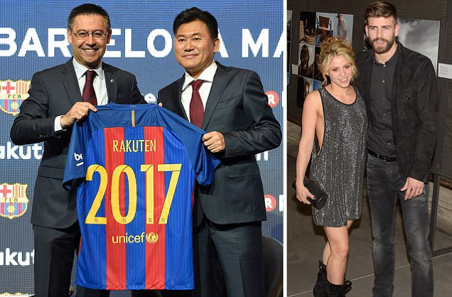 Gerard Pique and Shakira helped Barcelona get huge £200m Rakuten sponsorship deal... and