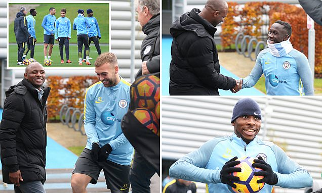 Patrick Vieira casts his eye over Manchester City training session