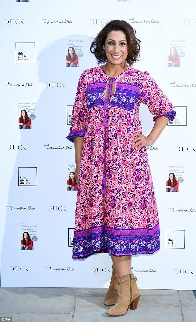 Colourful: Saira Khan opted for a colourful bohemian style number which she teamed with brown suede cowboy boots