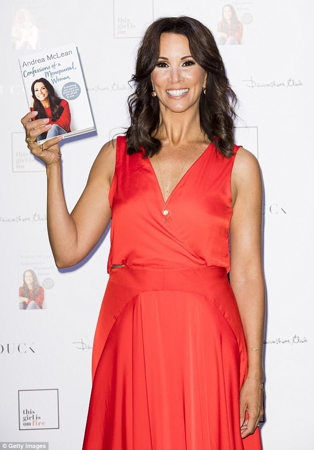 Time to shine: Andrea, 48, couldn't contain her delight as she was joined by her pals for release of her latest offering 'Andrea McLean: Confessions of a Menopausal Woman'
