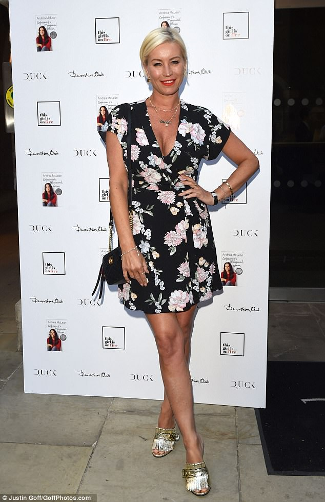 She's got front: Meanwhile, Denise also looked striking for the event as she showed off her busty cleavage in a floral mini-dress