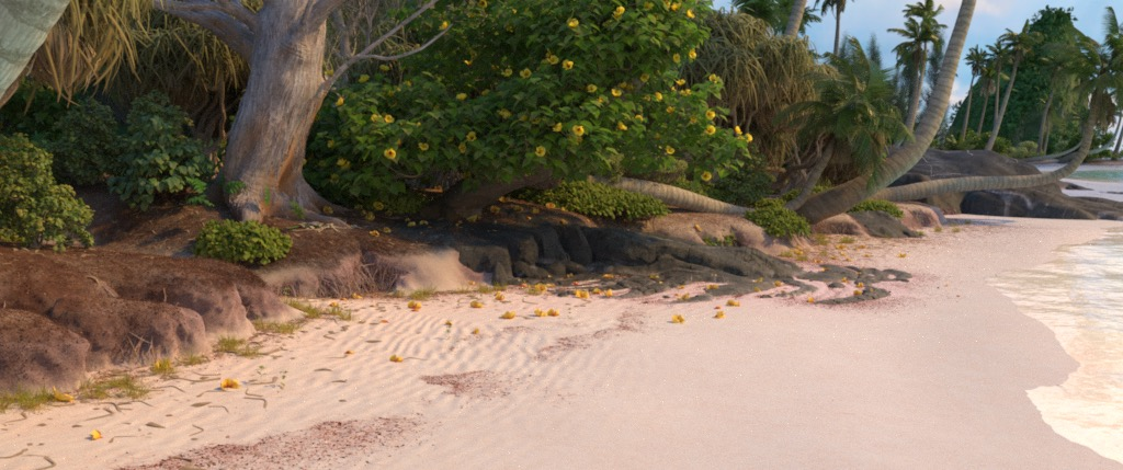 Figure 4a: 'beachCam' camera angle, rendered using Disney's Hyperion Renderer.