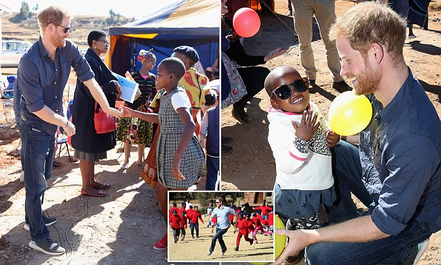 Prince Harry meets children during private visit to Lesotho