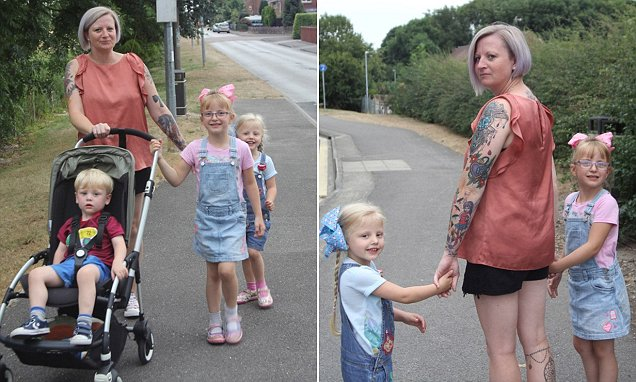 Mother, 36, is forced to walk SEVEN miles get children to school