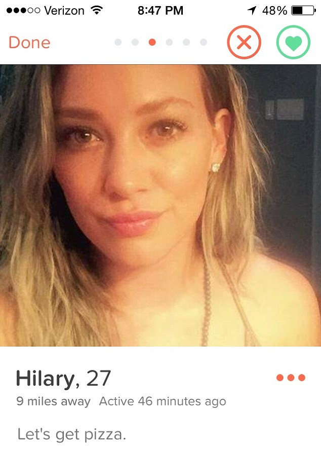 Dipping her toe into online dating: Hilary admitted she is on Tinder in an interview with Ryan Seacrest on Tuesday