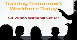 Training Room with board title states Training Tomorrows Workforce Today Citiwide Pre-Vocational Center