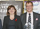 Charismatic Aydin Önaç, the £200,000-a-year headmaster of St Olave's Grammar School in Orpington, South-East London, pictured at the London Evening Standard School Awards with then-education secretary Nicky Morgan