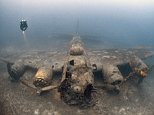 Steve Jones descended 230ft to capture this haunting image of a Second World War bomber which was downed by anti-aircraft fire during a sortie over Yugoslavia in 1944