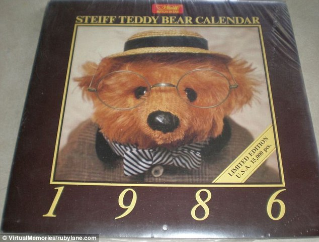 A limited-edition Steiff Teddy Bear calendar is still in its plastic wrapping at Rubylane.com