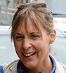 Beaming: Former Bake Off host Mel Giedroyc was in high spirits as she ventured out in London