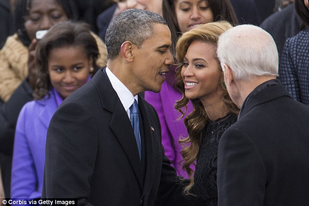 Old friends: Barack and Beyonce at his inauguration in 2013