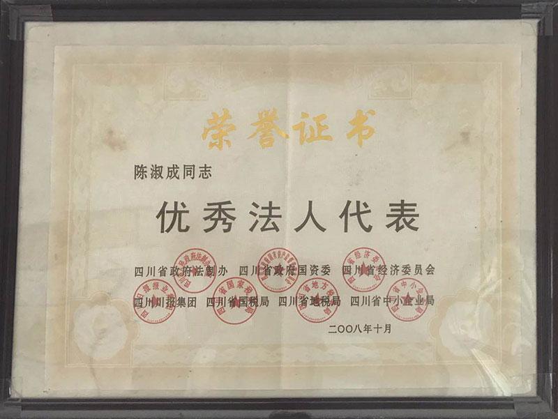 优秀法人代表荣誉证书