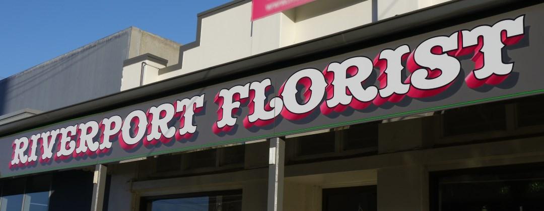 Riverport Florist Echuca handpainted fascia sign