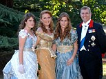 PRINCESS BEATRICE PHOTOGRAPHED WITH THE DUKE AN DUCHESS OF YORK AND PRINCESS EUGENIE BEFORE 1888 THEMED  MASKED BALL  AT WINDSOR CASTLE, PRINCESS BEATRICE  WHO IS 18, 8/8/2006 WAS WEARING A DRESS  BY MARQUESA WHILE THE DUCHESS AND PRINCESS EUGENIE WERE WEARING OUTFITS BY BARBARA MATERA LTD, WHILE THE DUKE WORE DRESS UNIFORM INCLUDING FOR THE FIRST TIME HIS GARTER SASH.