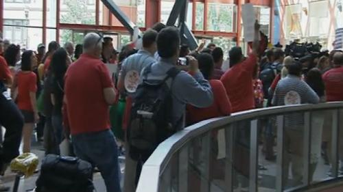 CTU Protests Teacher Layoffs, DePaul Arena