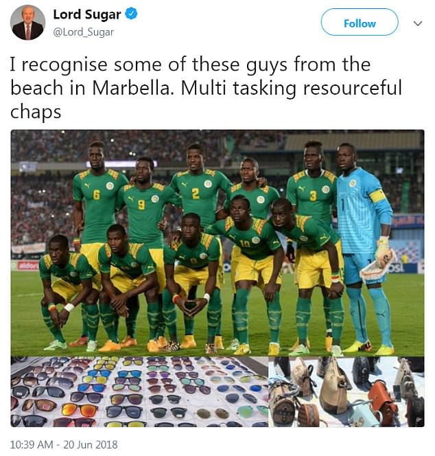 Lord Sugar tweeted this picture of the Senegal team, edited to include handbags and sunglasses laid out on sheets.The picture is from November 2014, when Senegal beat Egypt 1-0. Back row (from left) are 6 Salif Sane, 9 Mame Biram Diouf, 2 H. Pay Mison Djilobodji, 5 Papa Kouly Diop, 3 Serigne M. Kara Mbodji and 1 Bouna Coundoul. Front row (from left) are 17 Idrissa Gana Gueye, 12 Stephane Badji, 8 Cheikhou Kouyate, 10 Sadio Mane and 13 Cheikh Mbengue
