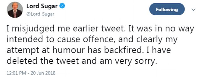 Some82 minutes after posting the initial message, he admitted the tweet was 'misjudged' and his 'attempt at humour has backfired', saying he was 'very sorry'.