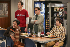 """""""The Proposal Proposal"""" - Pictured: Rajesh Koothrappali (Kunal Nayyar), Sheldon Cooper (Jim Parsons), Leonard Hofstadter (Johnny Galecki) and Howard Wolowitz (Simon Helberg). Amy gives Sheldon an answer to his proposal while Howard and Bernadette struggle with some unexpected news, on the 11th season premiere of THE BIG BANG THEORY, Monday, Sept. 25 (8:00-8:30 PM, ET/PT) on the CBS Television Network. Laurie Metcalf returns as Sheldon--С™Р""""--ћР""""Т's mother, Mary; Riki Lindhome returns as Ramona; and Stephen Hawking returns as himself. Photo: Michael Yarish/Warner Bros. Entertainment Inc. Р'В¬Р'В© 2017 WBEI. All rights reserved."""