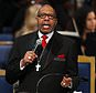 Rev. Jasper Williams, Jr., delivers the eulogy during the funeral service for Aretha Franklin at Greater Grace Temple, Friday, Aug. 31, 2018, in Detroit. Franklin died Aug. 16, 2018 of pancreatic cancer at the age of 76. (AP Photo/Paul Sancya)