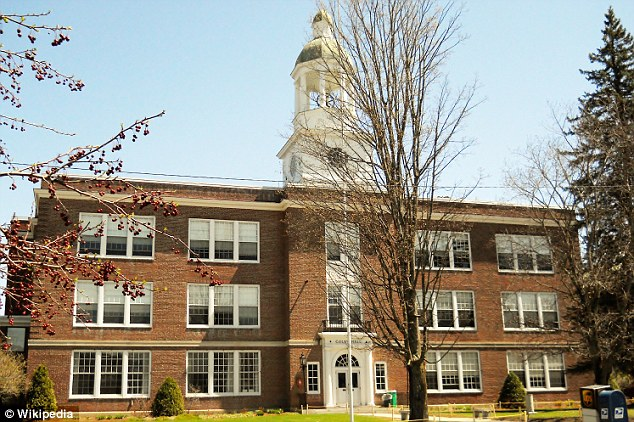 """School: The top of the page read: 'Go """"Toppers,""""' referring to the nickname of St Johnsbury Academy's high school, pictured"""