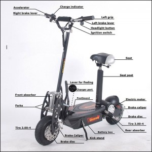 Black electric scooter with seat for adults