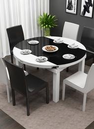 餐桌椅组合简约现代小户型圆餐桌多功能伸缩电磁炉餐桌折叠饭桌