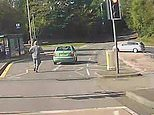 The man gave the car a push start but failed to account for the downward slope that was just around the corner